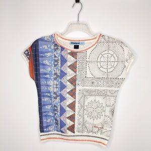 Desigual Blouse Top Small Boho Crochet Back Die Cu